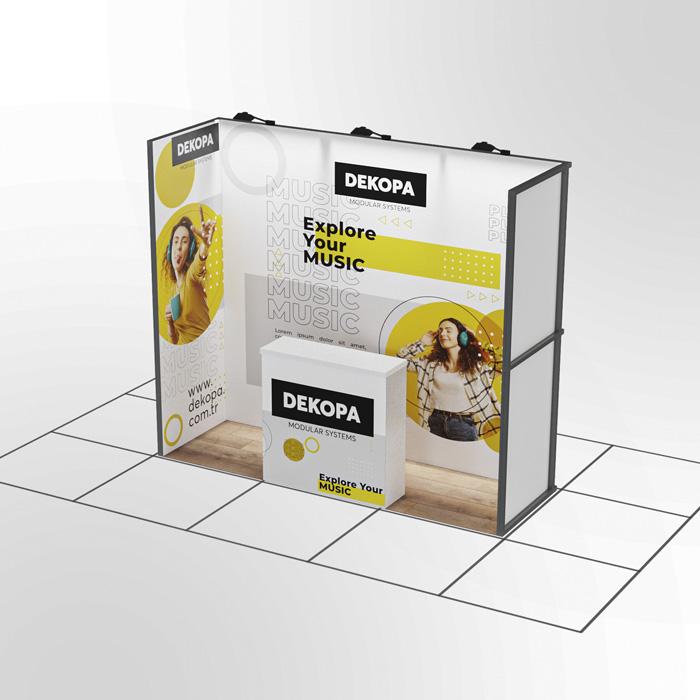 1x3-Modüler fuar standı - lightbox stand - ledbox stand - yurtdışı fuar standı - istanbul stand
