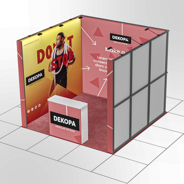 3x3-2 Modüler fuar standı - lightbox stand - ledbox stand - yurtdışı fuar standı - istanbul stand