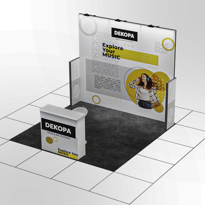 3x3 Modüler fuar standı - lightbox stand - ledbox stand - yurtdışı fuar standı - istanbul stand