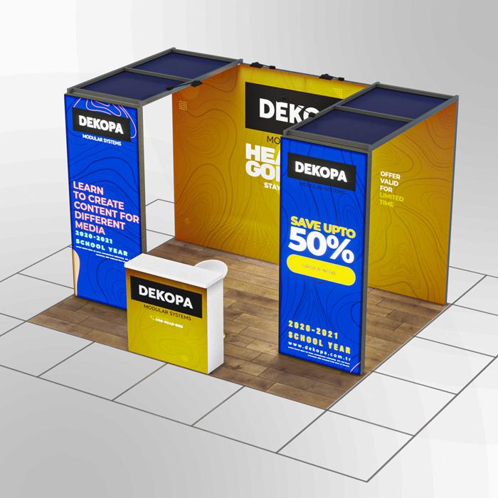 3x4-3 Modüler fuar standı - lightbox stand - ledbox stand - yurtdışı fuar standı - istanbul stand