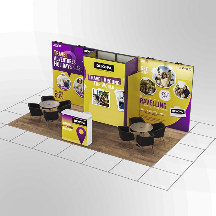 3x6-1 Modüler fuar standı - lightbox stand - ledbox stand - yurtdışı fuar standı - istanbul stand