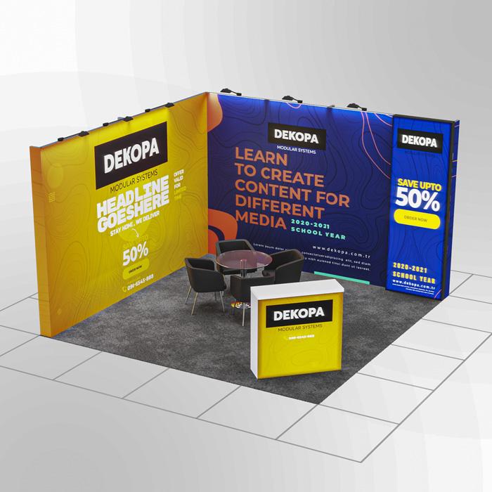 4x3 Modüler fuar standı - lightbox stand - ledbox stand - yurtdışı fuar standı - istanbul stand