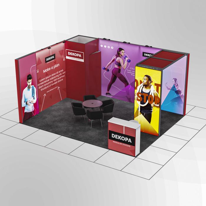 4x5-1 Modüler fuar standı - lightbox stand - ledbox stand - yurtdışı fuar standı - istanbul stand